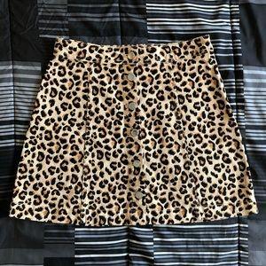 Denim cheetah skirt